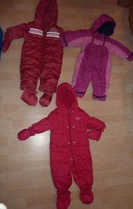 3 1-piece snowsuits (Roots, Lands End, TCP), size 6 - 12m
