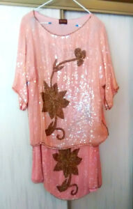 Ladies 2 Piece Rose Sequins Dress