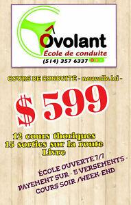 COURS DE CONDUITE,NOUVELLE LOI ,599$ COURS COMPLET