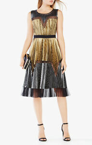BCBG - Lucea Pleated Metallic Dress