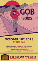GOB & Boids in concert  Saturday October 10, 2015 at  The OAK