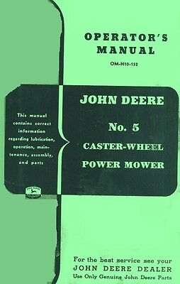 John Deere 5 Caster Wheel Power Mower Operators Manual
