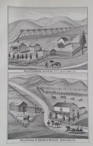 Orig 1885 Ed Mason & Darwin Butler Ranch Print Deer Lodge Co Montana Territory