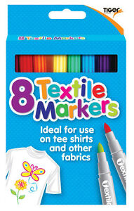 Coloured Fabric Markers T Shirt Markers Fabric Pens Marker Pens Textile Pens x 8