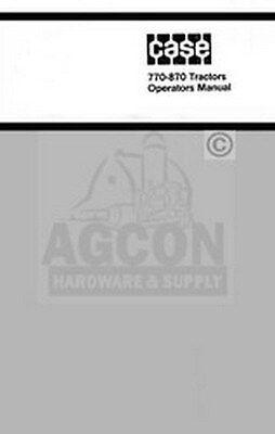 Case 770 870 Tractor Operators Instruction Manual