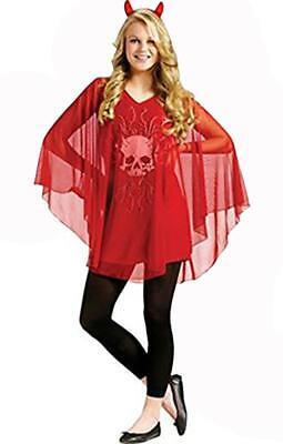 Devilish Sheer Poncho attached Skull Shirt Halloween Costume Junior 0-9 - Poncho Devil Kostüm