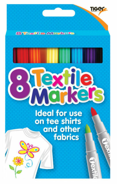 8 Textile Markers - (Tiger) Fabric Pens/Arts/Crafts/Design/Kids/Create/Clothes