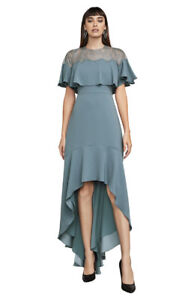 BCBG Maxazria High-Low Silhouette Turquoise Evening Dress