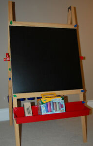 LIKE NEW Deluxe Wooden Artist Easel - Chalkboard and Whiteboard