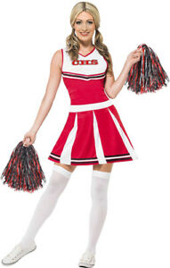 Women's Cheerleader Costume with Dress and Pom Poms