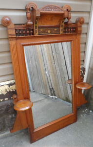 Antique Mirror Carved Wood Beveled Glass Oil Lamp Holders