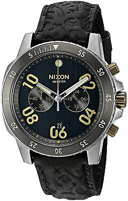 Nixon Men's A9402222 Ranger 44mm Chronograph Leather Black Brass A940-2222-00