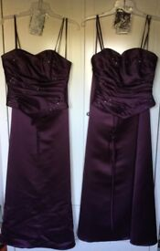 2 Size 10 Aubergine Colour Bridesmaid Dresses