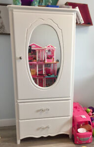 $150 each Beautiful solid wood, white gloss wardrobe and dresser