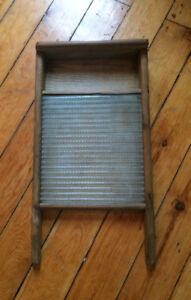 Vintage Washboard with Glass