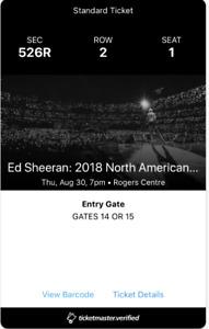 Ed Sheeran x 2 tickets (Thurs, Aug 30)