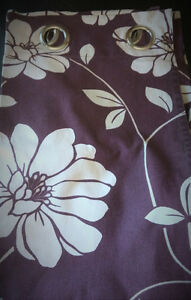 Purple Curtains with Floral Print- 2 X Panels