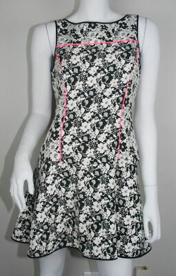 New Banana Republic Off White Black Pink Floral Sleeveless Fit Flare Dress 8P PM