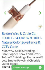 Belden Wire & Cable Co. - 1000FT - 643948 877U1000 - Natural Col