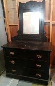 Antique Solid Wood Dresser w/Mirror
