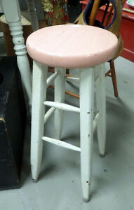 Vintage Painted Wooden Stool - BLUE JAR Antique Mall