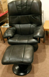 Lazy boy black leather recliner with foot rest stool