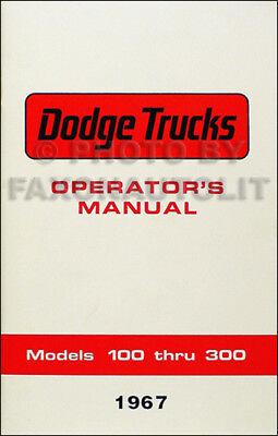 1967 Dodge Truck Owner Manual Pickup D100-D300 Van A100 Power Wagon W100-WM300