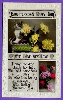 Blumen CPA Chats RPPC Happy Birthday Kitten flowers 1922 (Happy Birthday Kätzchen)