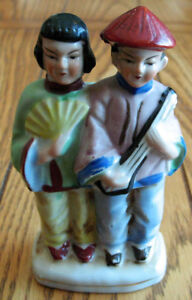 Occupied Japan CHINESE / JAPANESE COUPLE W/ Fan & Guitar Figure