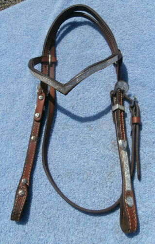 V Brow Silver and Brass Edge Trim Western Horse Headstall