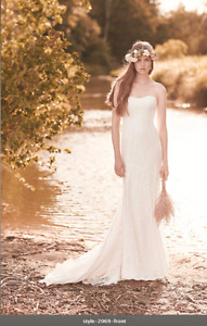 Beautiful Boho Chic Canadian-made lace Mikaella wedding dress