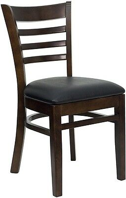 Walnut Wood Finished Ladder Back Restaurant Chair With Black Vinyl Seat