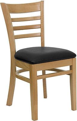 Wood Frame Natural Finish Ladder Back Restaurant Chair W Black Vinyl Seat