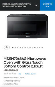 Brand New Black Stainless Steel Over Range Microwave/Vent Hood