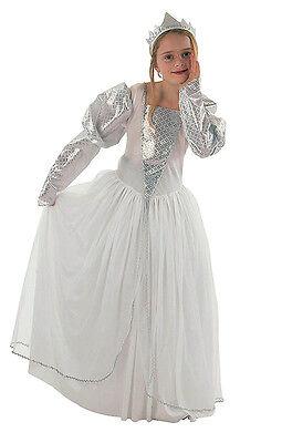 Girls White Snow Queen Book Week Costume Ice Princess Fancy Dress Outfit 4-6 - Girls Snow Queen Kostüm