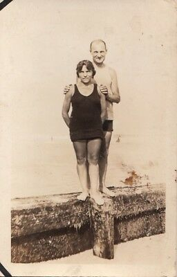 RPPC Postcard Beach Scene Man + Woman Bathing Suits c. 1920s