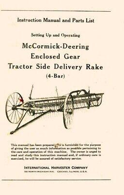 International Mccormick Deering 4 Bar Side Delivery Rake Gear Operators Manual