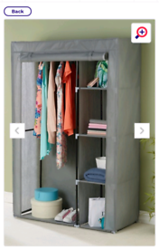2 grey canvas wardrobes and 2 drawers