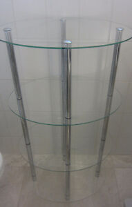Vintage Tempered Glass Oval Shelving Unit