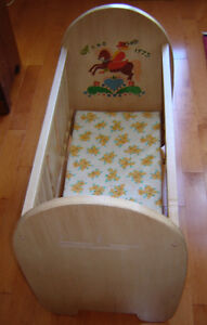 Beautiful Unique Hand Painted Antique Solid Wood Doll Crib