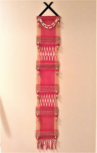 """2 Wall Hanging Thai Tapestries """"Tung"""" - Handmade Woven Cotton"""