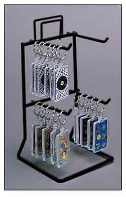 Counter Key Chain & Small Product Display Rack - 2 Tier 4 Peg (Black)