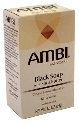 (3 Pack) AMBI CLEANSING BAR SOAP BLACK WITH SHEA BUTTER 3.5 Ounce (Ambi Black Soap)