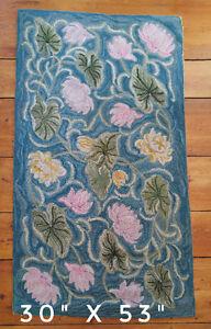 Antique Nova Scotia floral design hooked rug - turquoise