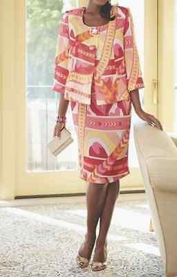 Gelati Jacket Dress Bright Print Ashro Nwt Church Wedding Special Event