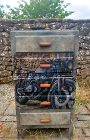 Oak chest of drawers with motorbike... unique