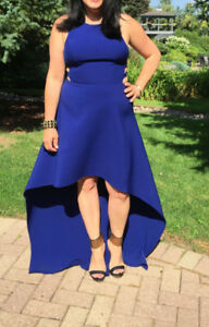 BCBG Assymetrical Hem Gown Dress Cobalt Blue