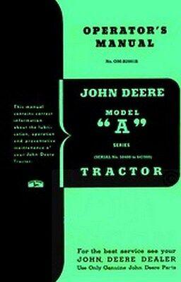 John Deere A Series Operators Instruction Manual Jd