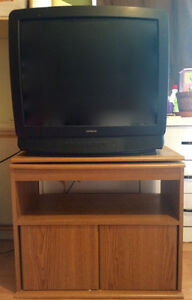 TV AND wall unit stand with swivel top and storage under