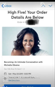 2 Tickets to see Michelle Obama May 4th Scotiabank Arena